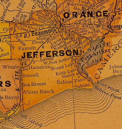 TX  Jefferson County 1940s Map
