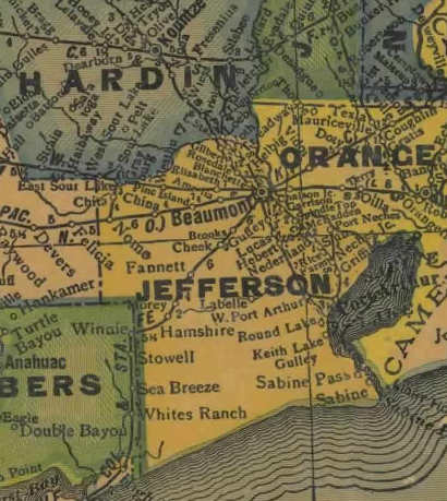Jefferson County Texas 1940's map