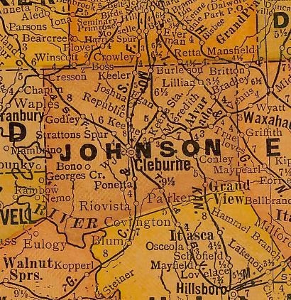 TX Johnson County 1920s Map