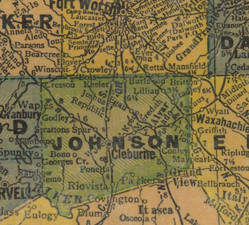 TX Johnson County 1940s Map