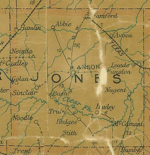 TX Jones County 1907 Postal Map