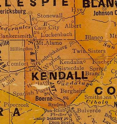 TX Kendall County 1920s Map