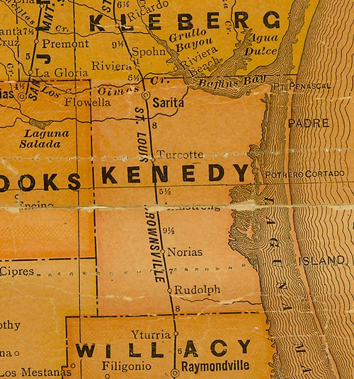 TX Kenedy County 1920s Map