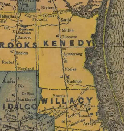 Kenedy County Texas 1940s map