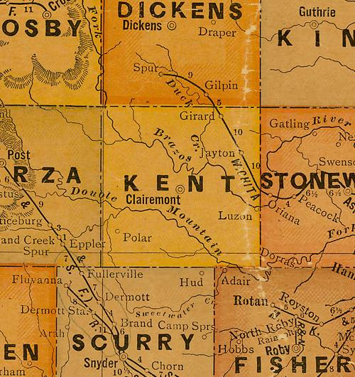 TX Kent  County 1920s map