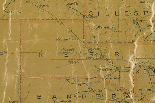 TX Kerr County 1907 Postal Map