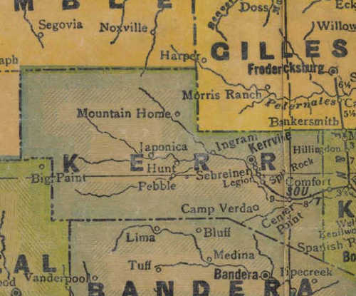 TX Kerr County 1940s Map