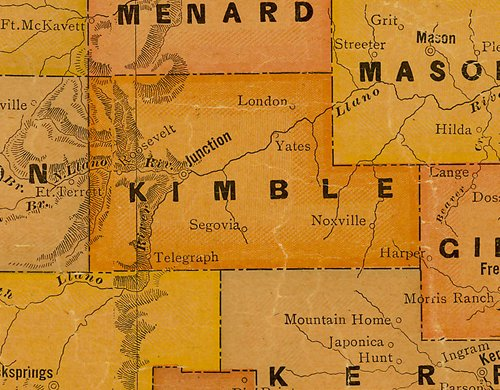 Kimble County TX 1920s Map