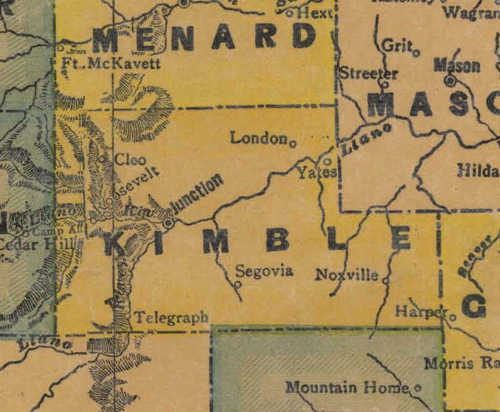 TX Kimble County 1940s Map
