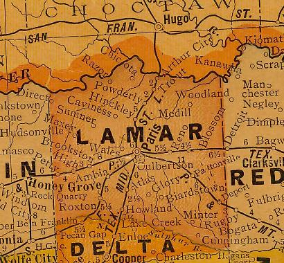 Lamar County, Texas 1920s  map