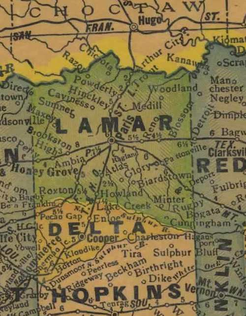 Lamar County Texas History Cities Towns Vintage Maps And