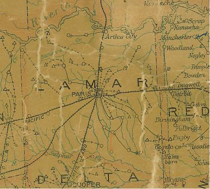 Lamar County Texas 1907 Postal map