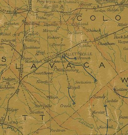 Lavaca County Texas 1907 Postal map