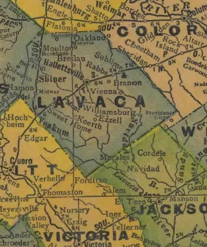 TX Lavaca County 1940s map