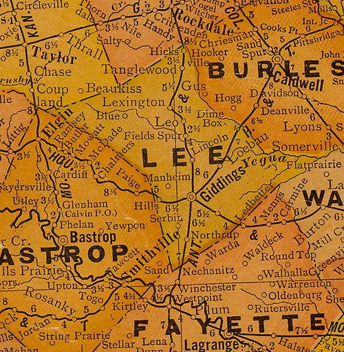 TX Lee County 1920s Map