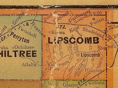 Lipscomb County Texas 1920 map