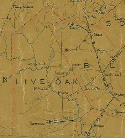 Live Oak County TX 1907 Postal Map