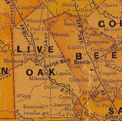 Live Oak County TX 1920s Map
