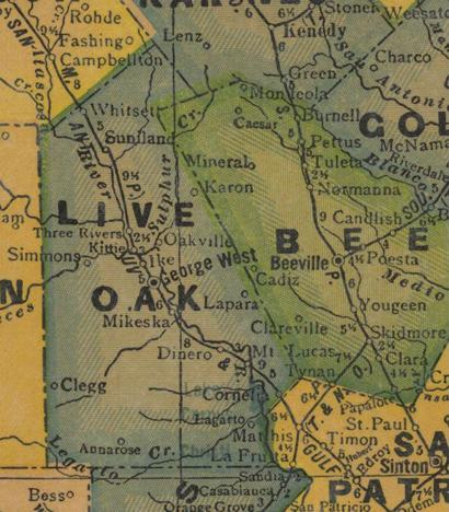 Live Oak County TX 1940s Map
