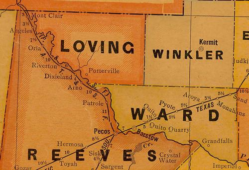 Loving County TX 1920 Map