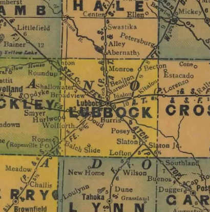 Lubbock County Texas 1940s map