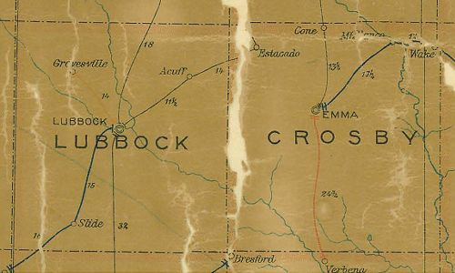 Lubbock & Crosby County Texas 1907 Postal map