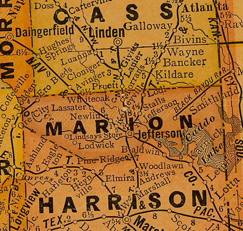 Marion County TX 1920s Map