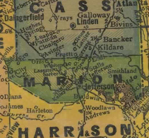 Marion County TX 1940s Map