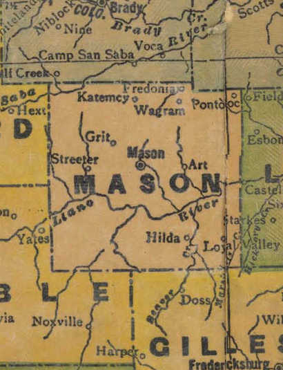 TX Llano County 1940s Map
