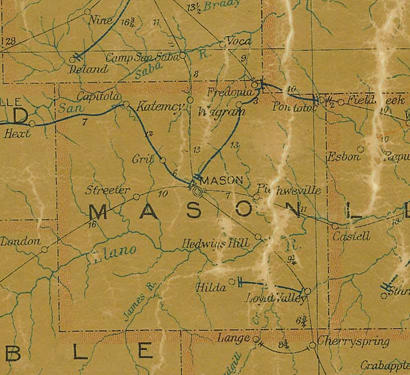 Mason County TX 1907 postal map