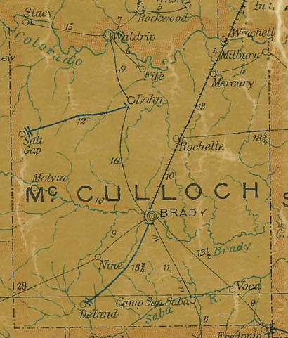 TX McCulloch County 1907 Postal Map