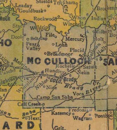 TX McCulloch County 1940s Map