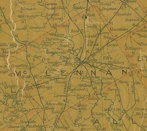 TX McLennan County 1907 Postal Map