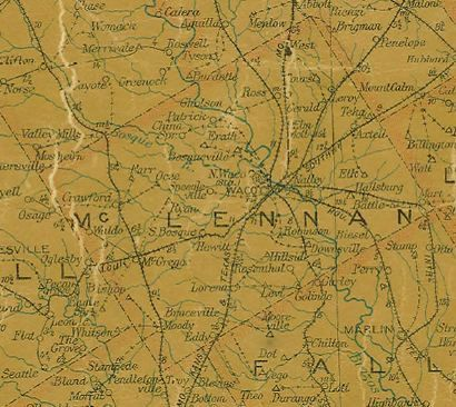 McLennan County Texas 1907 Postal Map