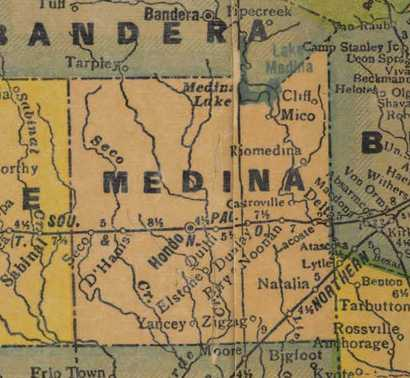 Medina County Texas 1940s map