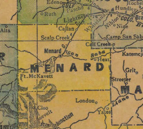 Menard County TX 1940s Map