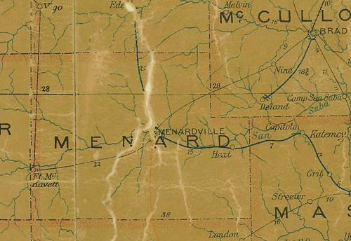 Menard County TX 1907 Postal Map