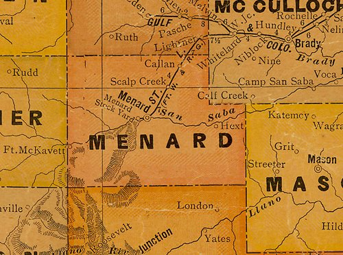 Menard County TX 1920s Map