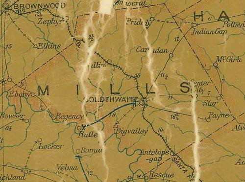 TX - Mills County 1907 postal map