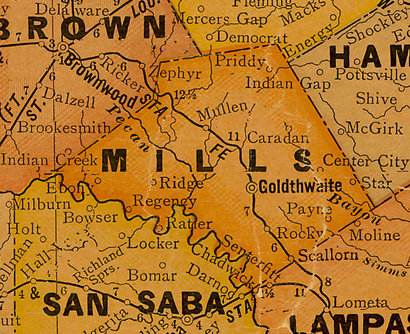 TX Mills County 1920s Map