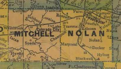Texas - Mitchell County , Nolan County 1940s map