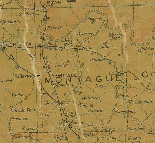 TX Montague County 1907 Postal Map