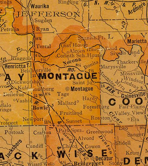 TX Montague County 1920s Map