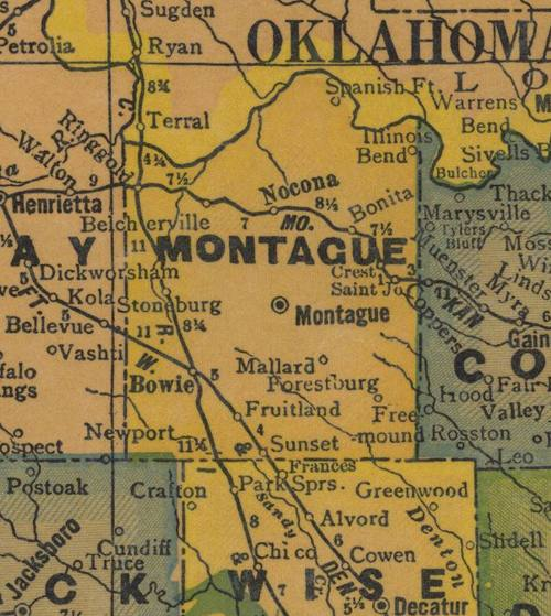 TX Montague County 1940s Map
