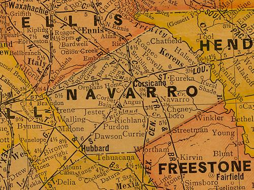 Navarro County Texas 1920s Map