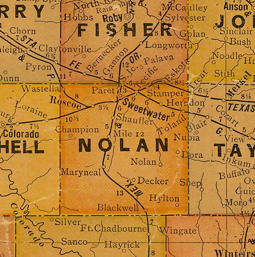 Nolan  County TX 1920s map