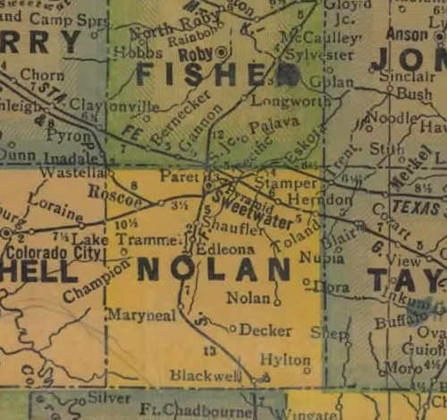 Nolan  County TX 1940s map