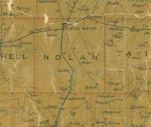 Nolan County TX 1907 postal map
