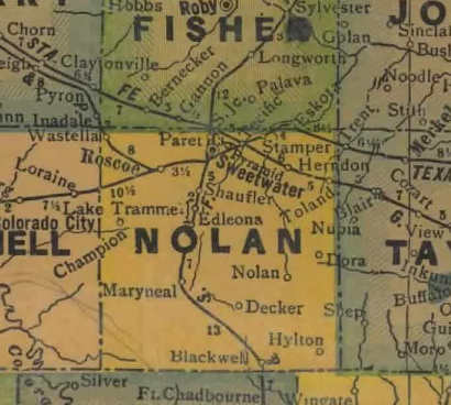nolan county Nolan County Texas 1940s Map