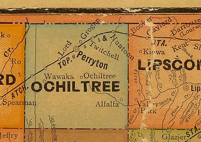 1907 Ochiltree and Lipscomb County Texas postal map
